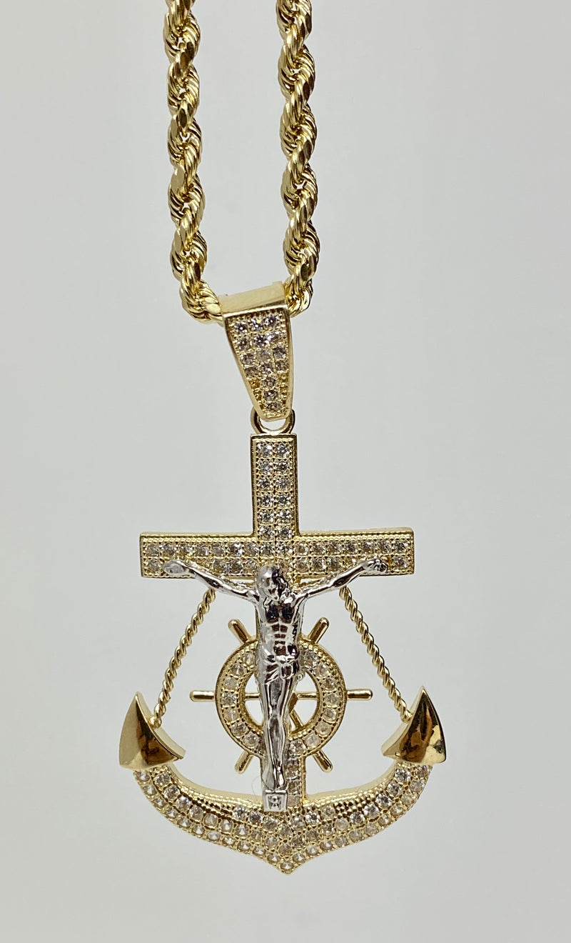 Anchor with stones , iced out 14k real gold!  ( pendant or chain set )