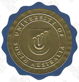 Embossed Round Gold Foil Over Blue Scallop Seal