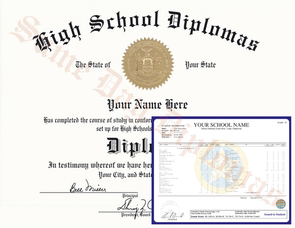Replacement High School & Secondary School Diplomas, Transcripts