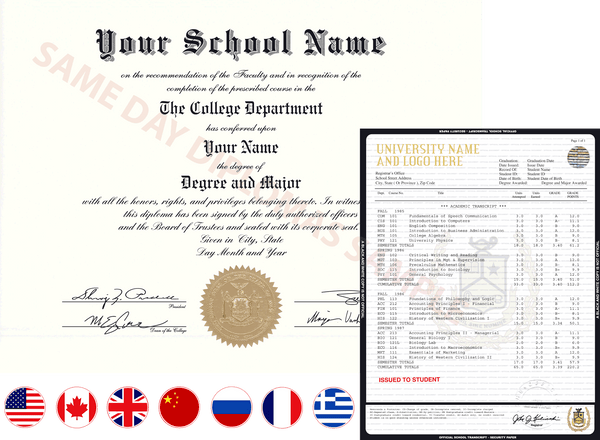 Replacement College & University Diplomas and Transcripts from Same Day Diplomas