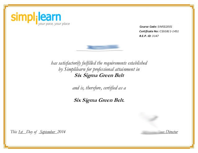 Buy Replacement Certificate Six Sigma Green Belt Same Day Diplomas