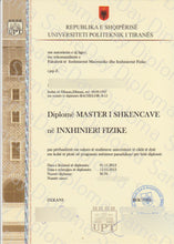 College and University Match Diploma From Albania