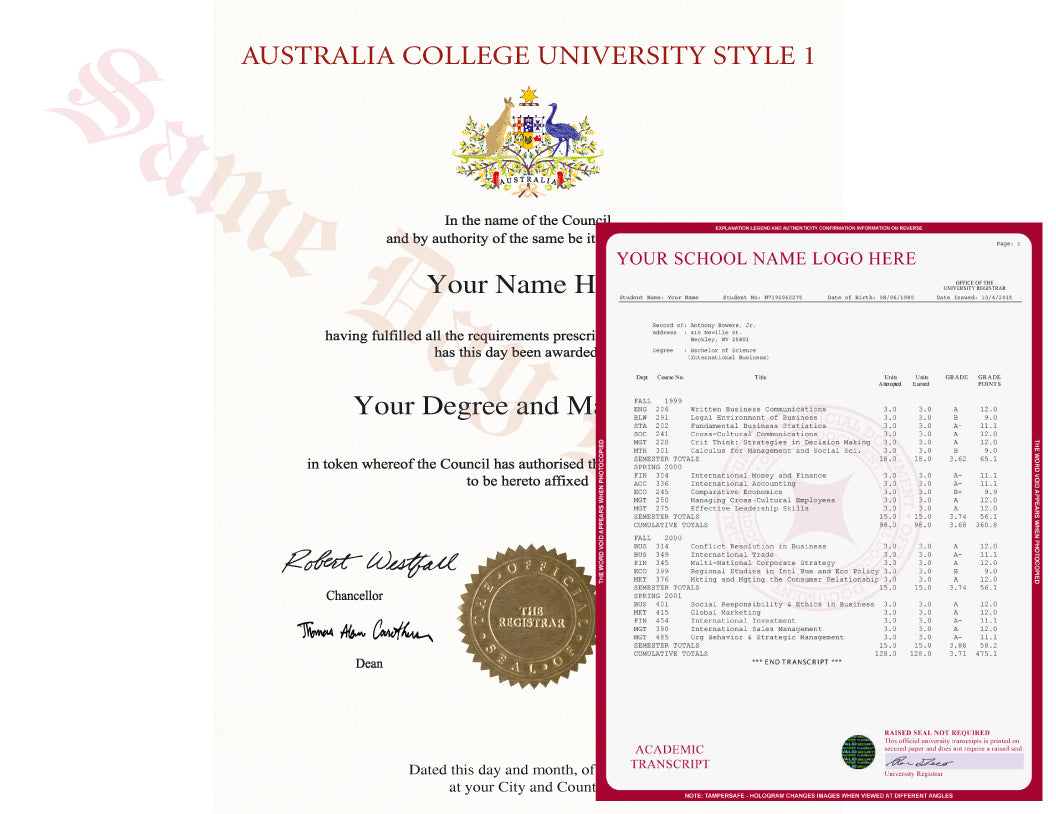College University Diploma and Transcripts from Australia