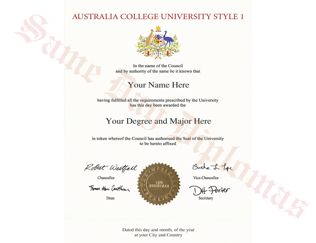 College and University Diploma Degree from Australia