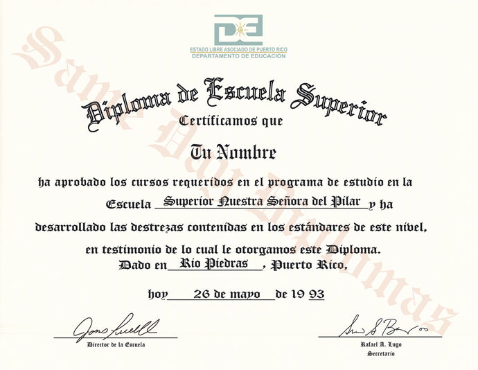 Puerto Rico Secondary Certificate