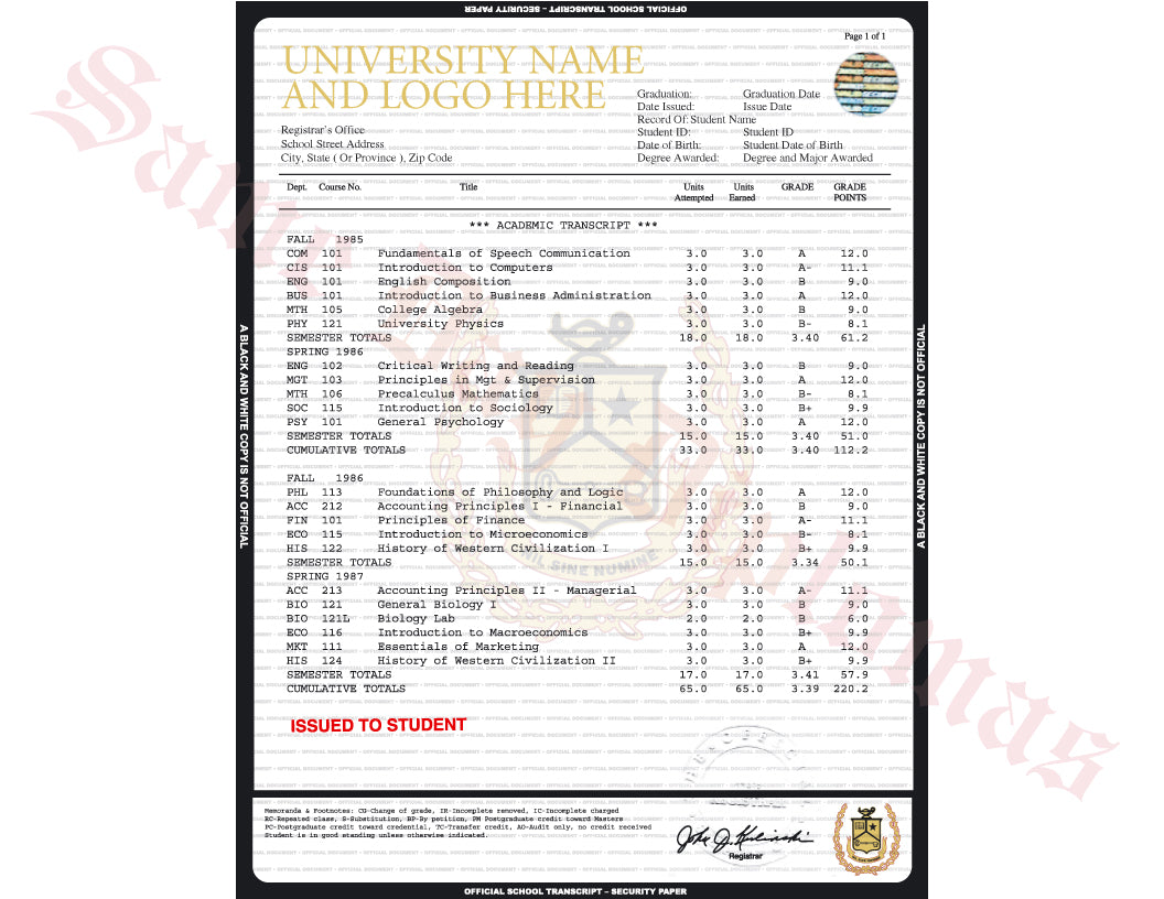 College University Transcripts USA