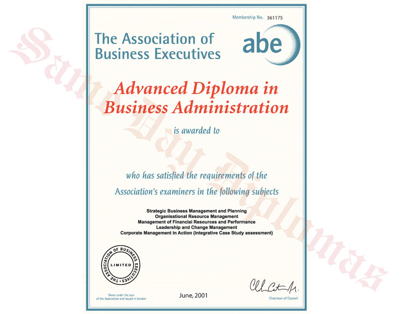 Buy Replacement Certificate - ABE Business Executive – DPS