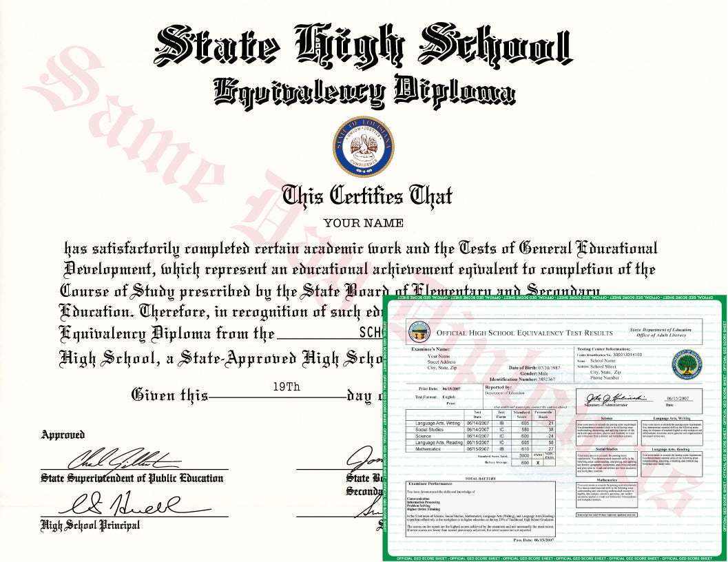 ... GED Diploma and Transcripts ...