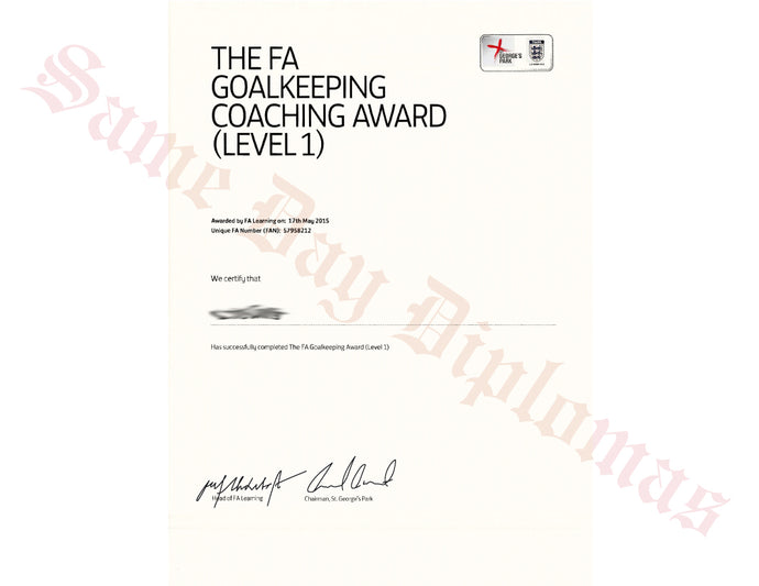 Certificate -  Goalkeeping Coach