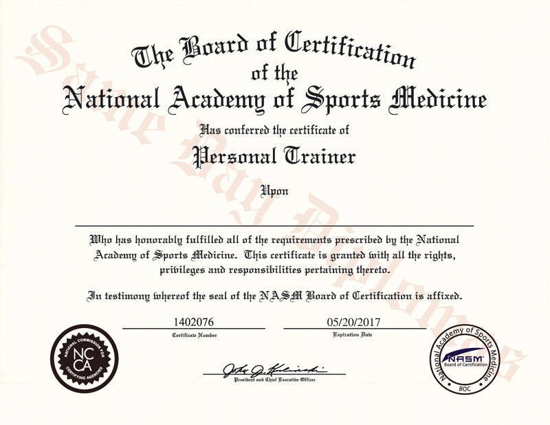 Buy Replacement Personal Trainer Certificate – DPS