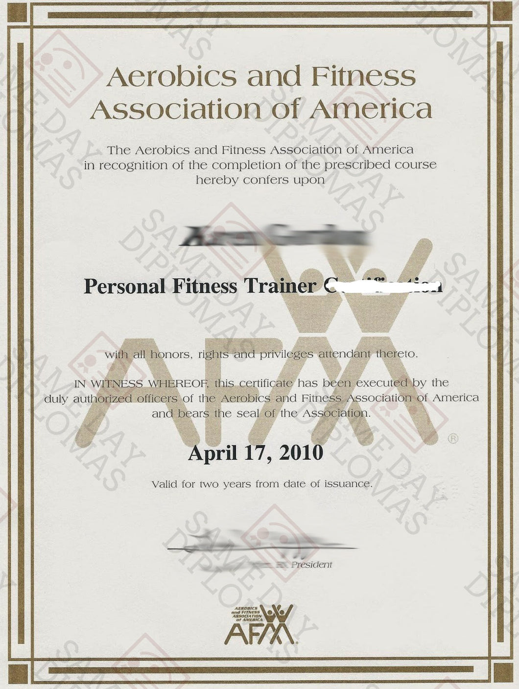 Buy Replacement Personal Trainer Certificate