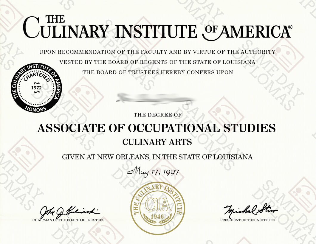 Buy Replacement Certificate Culinary