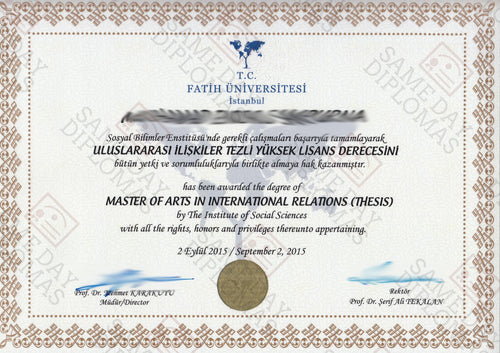 College and University Match Diploma From Turkey
