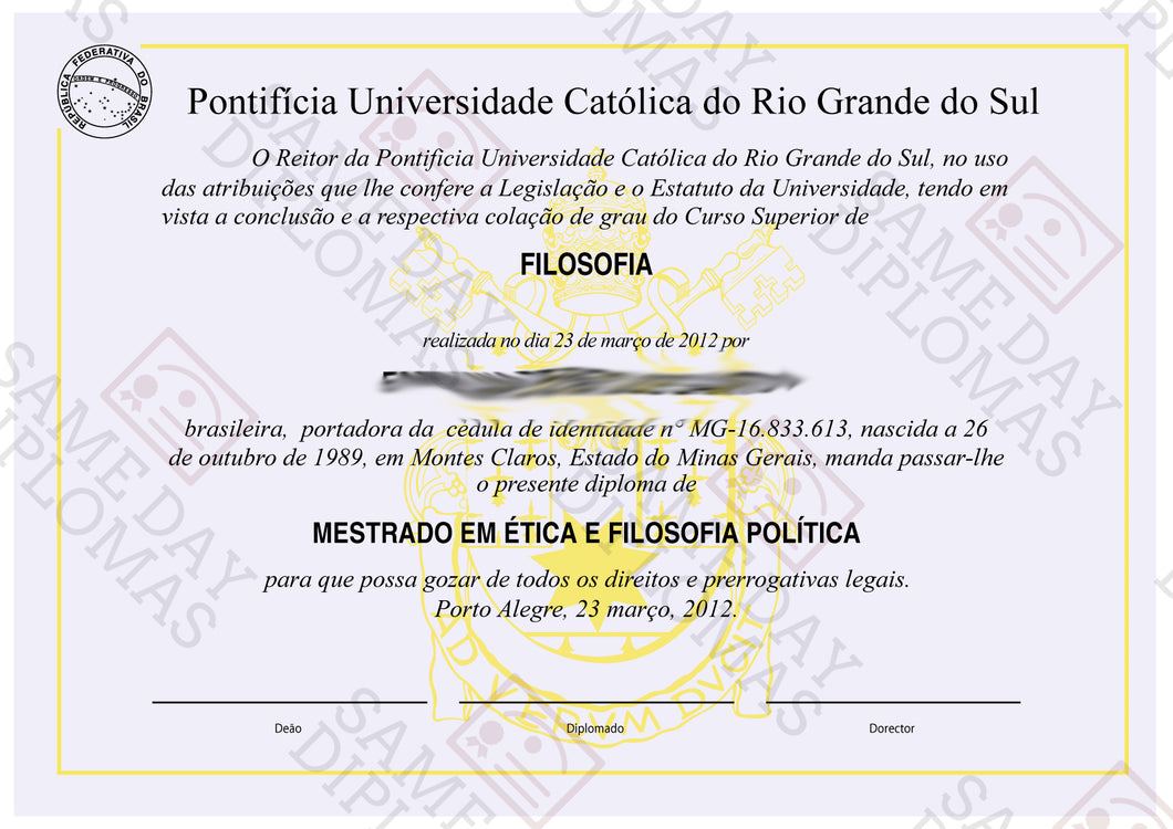 College and University Match Diploma From Brazil