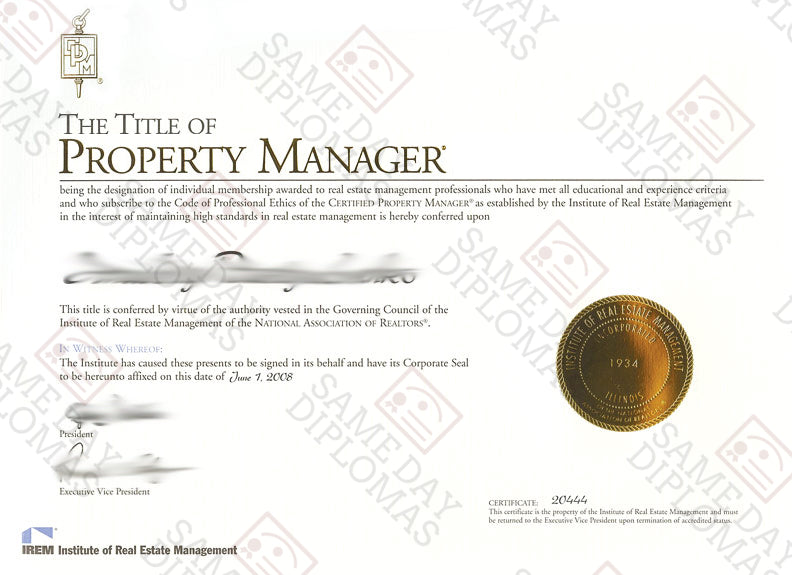 Certificate -  Property Manager