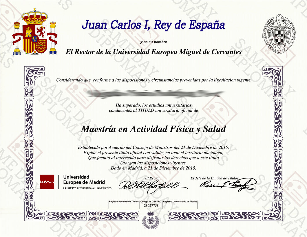 College and University Match Diploma From Spain
