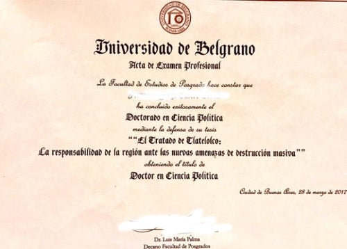 College and University Match Diploma From Argentina