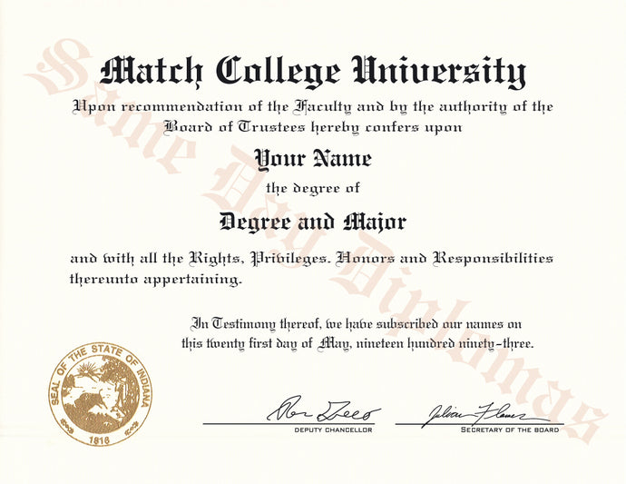 College and University Match Diplomas Any Country