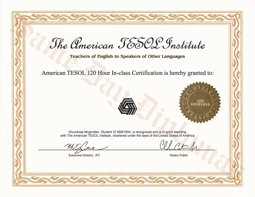 Buy Replacement Certificate Tesol Teaching English To Speakers Of
