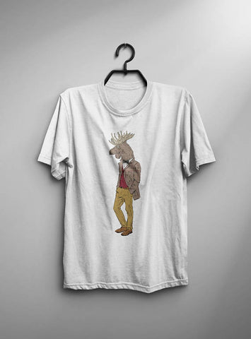 Hipster Moose T-shirt Men Tshirt Typography Shirt