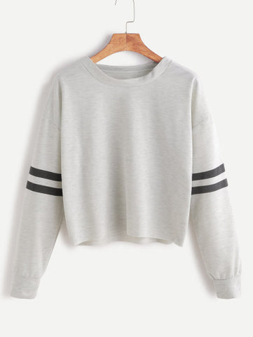 Heather Grey Drop Shoulder Varsity Striped Crop