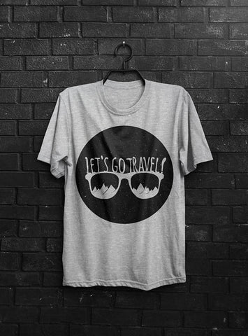Let's Go Travel T-shirt Men Tshirt Typography