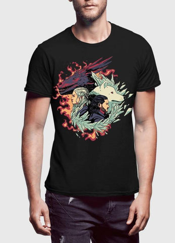 Fire and Ice GOT Half Sleeves T-shirt