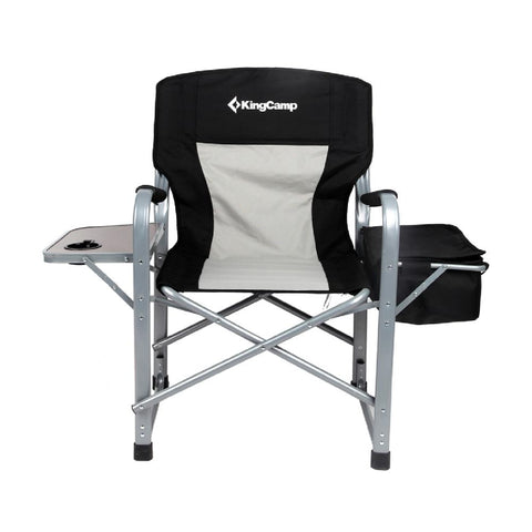 KingCamp Portable Heavy Duty  Comfort Folding Camping Chair Director Chair with Cooler Bag and Side Table Support up to 330 Ibs