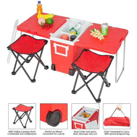 Red Blue Outdoor Picnic Foldable Multifunction Rolling Cooler Upgrade Foldable Chair For Fishing Camping Barbecue Hiking