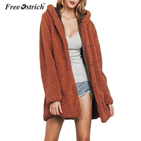 Free Ostrich Faux lambswool Coat Long Sleeve Solid Hooded Thick Casual Winter Warm Oversized Coat Long wool coat Outerwear N30