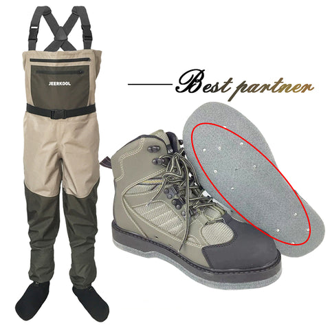Fly Fishing Shoes & Pants  Felt Sole With Nails Aqua Sneakers Clothing Set Wading Waterproof Suit Waders Boot No-slip Rock Sport