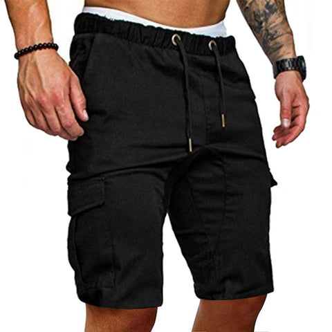 SHUJIN Mens 2019 New Shorts Men Cotton Loose Work Casual  Pants Plus Size Men Casual Elastic Solid Pockets Trousers