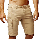 New Brand Men Knee Length Solid Cargo Shorts Men Khaki Black Green Casual Shorts Summer Work Shorts Pocket Short Pants
