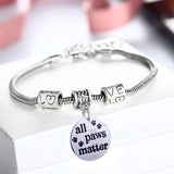 All Paws Matter Pet Lovers Charm Bracelet