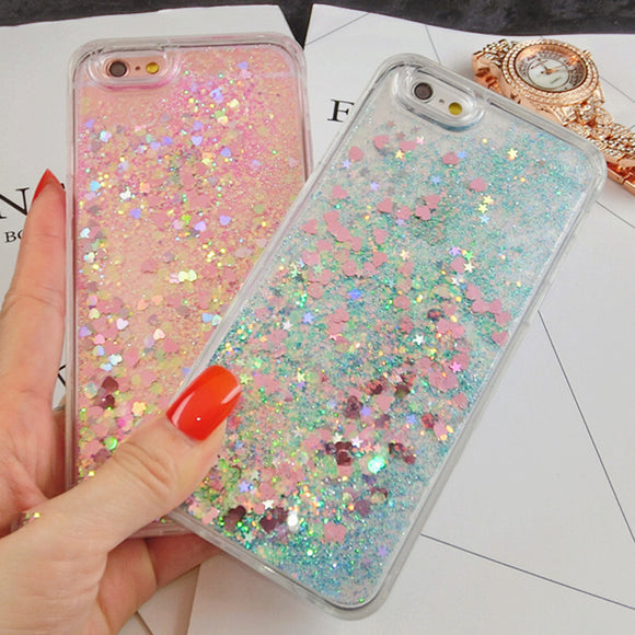 Heart and Stars Liquid Glitter Phone Case