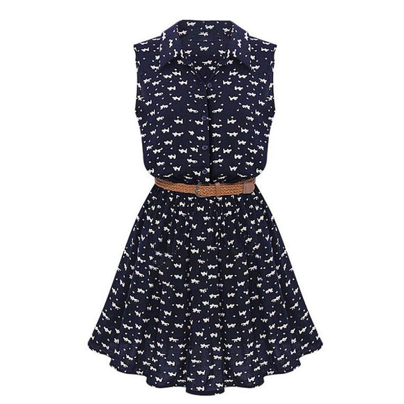 Button up Cat Dress with Belt