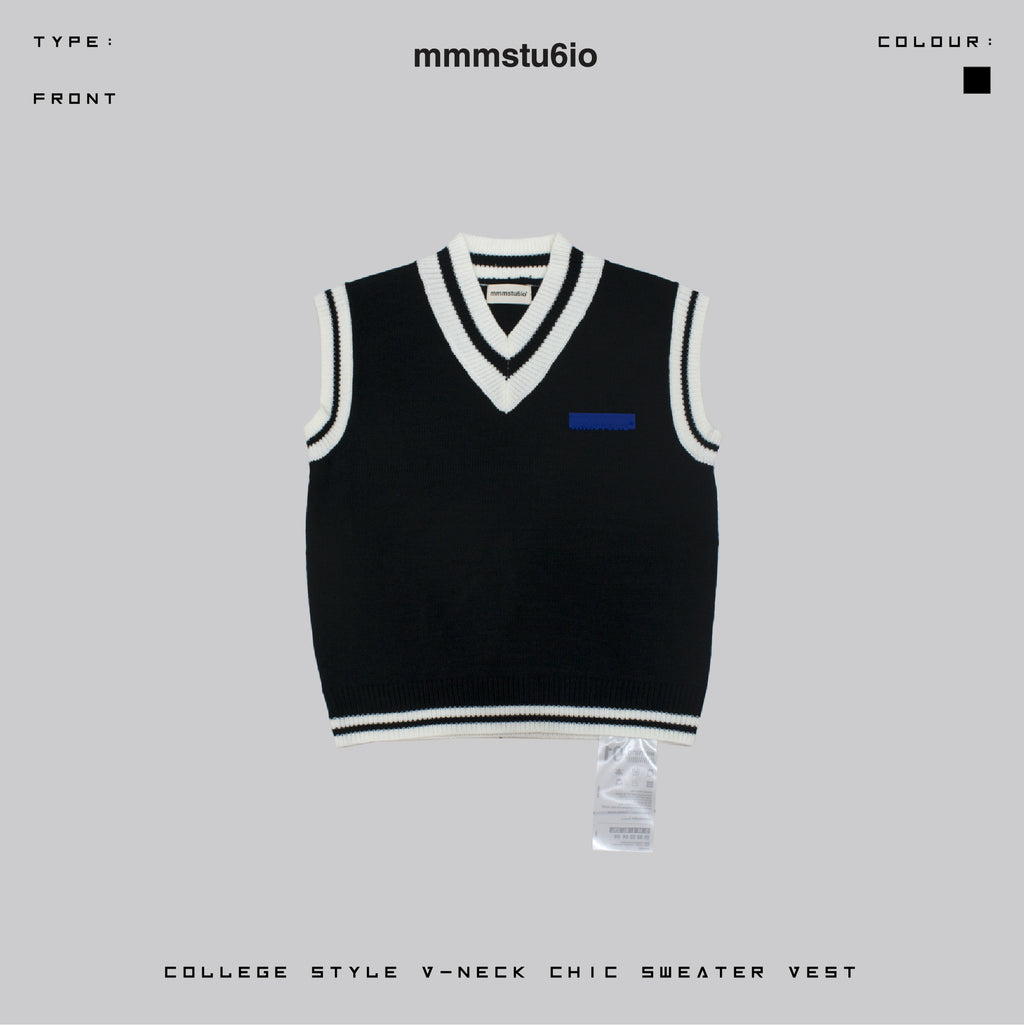 College Knit V-neck Sweater Vest