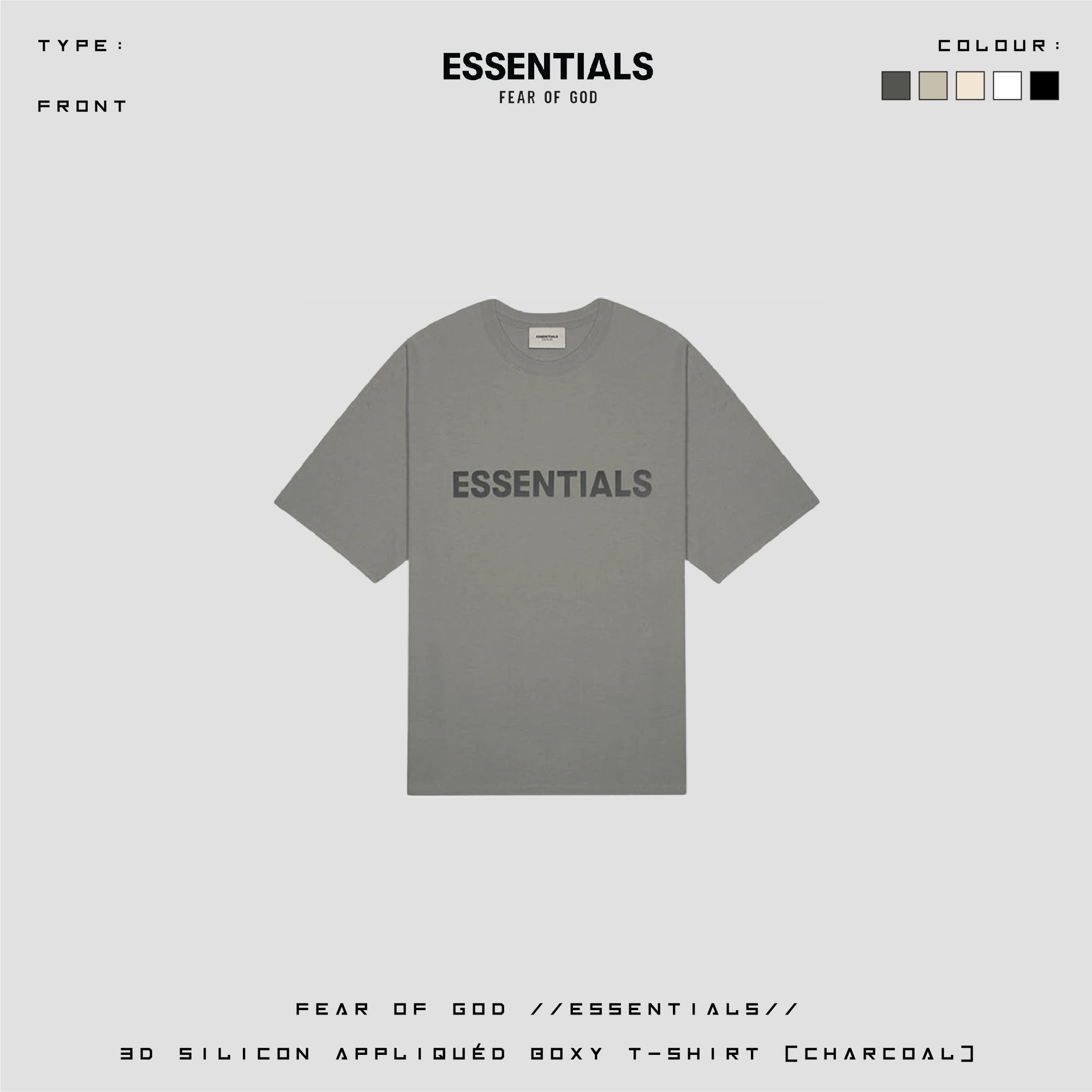 FOG ESSENTIAL 3D Silicon Applique Boxy Tee/ Charcoal