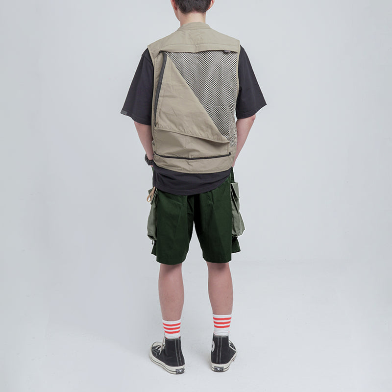 MIL UTILITY TWO TONE CARGO SHORTS. OLIVE GREEN 01