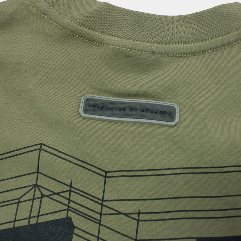 RXG DIAGONAL MATRIX TEE - OLIVE GREEN