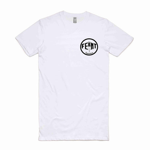 TALL TEE - White with Black Circle Logo - A must have!