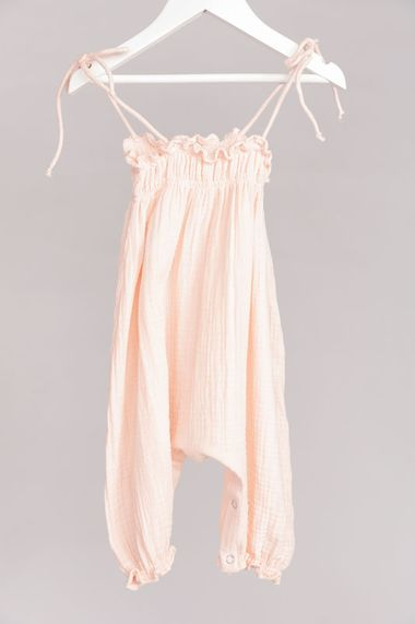 Mia Shirred Romper in Pink