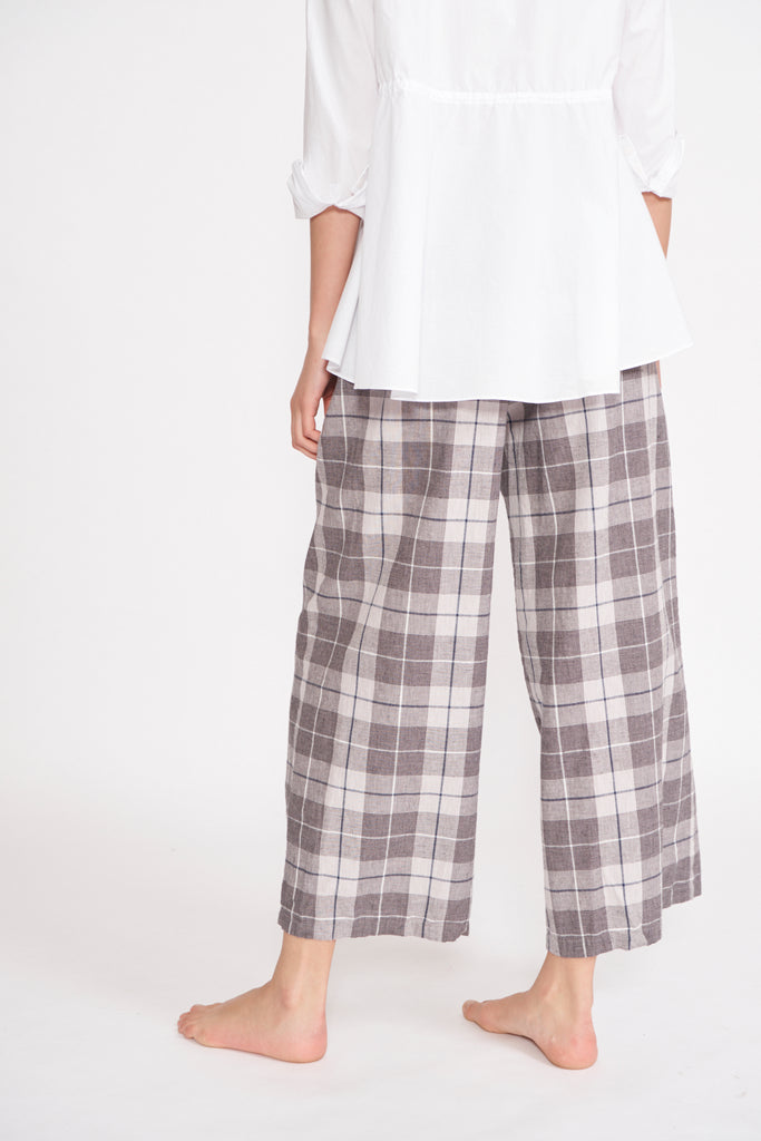 Wide Leg Pant in Beige Golf Check