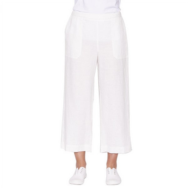 Pocket Detail Linen Pant - Ivory