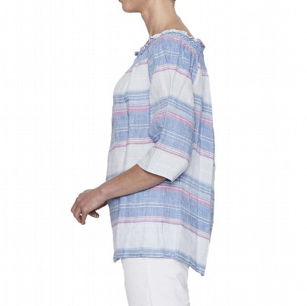 Multi Stripe Linen Top - Blue/Multi