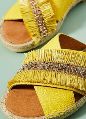 Yellow Fringed Espadrille Slides