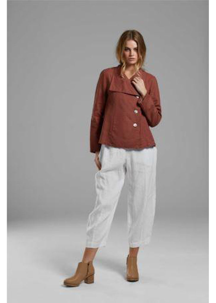 Linen and Jersey Pants - White