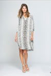 Long Sleeve Snake Print Tunic Dress