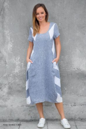Zanzibar Dress in White/Grey Stripe