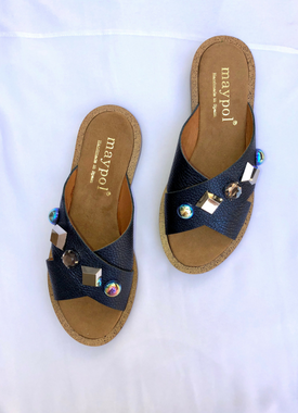 Metallic Navy Jewelled Slides
